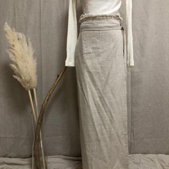 linencanvas fringe skirt