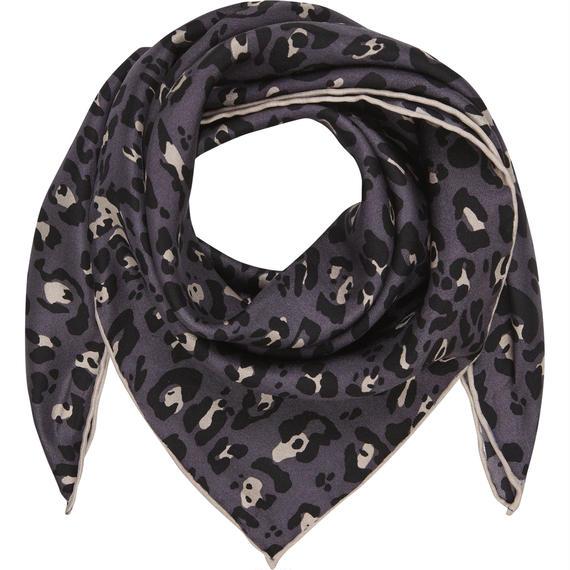 LEO-Grey/Black  53×53cm  シルクスカーフ