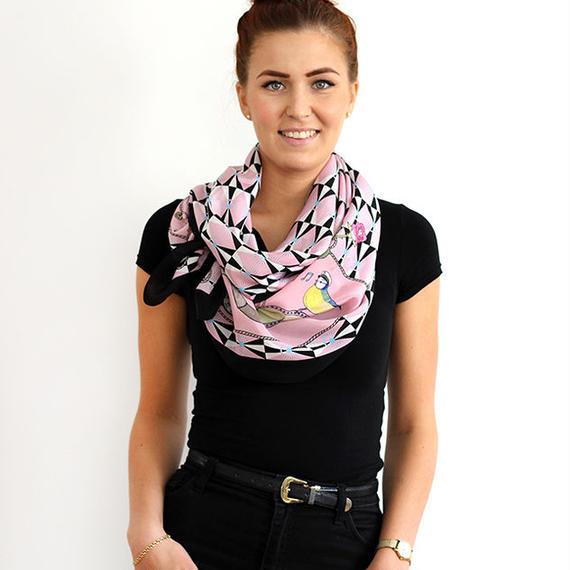 〝Sailor Bird〟45×200cm シルクスカーフ 北欧 スウェーデン
