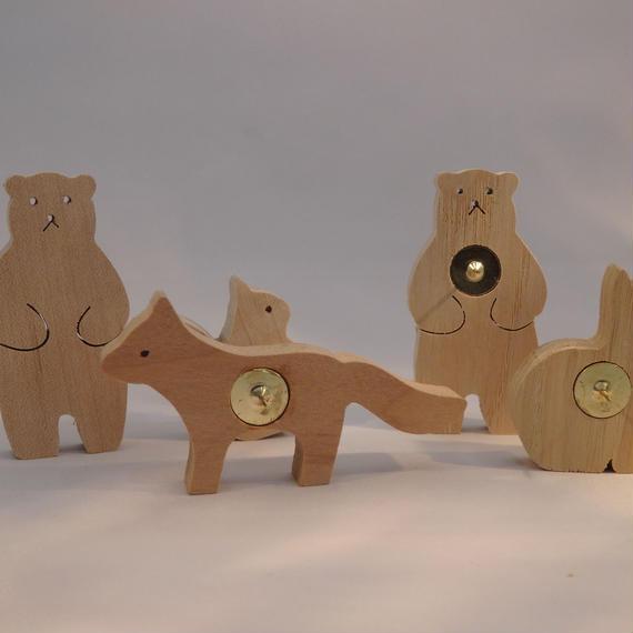 森の動物ピン5匹セット(クマ×2・キツネ・ウサギ・リス)