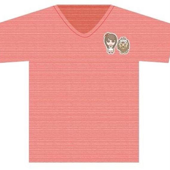 Tシャツレッド(イラストかなで&ライオンキャラ)