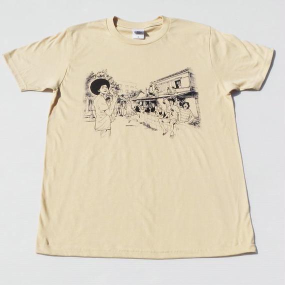 さすらいアフロ田中×月光荘  Tシャツ