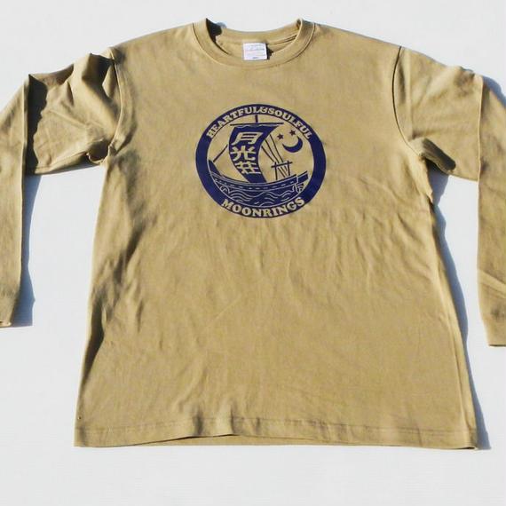 月光荘「帆掛け船」Long T-shirts・モスグリーン