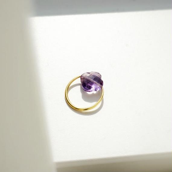 flower shape amethyst ring
