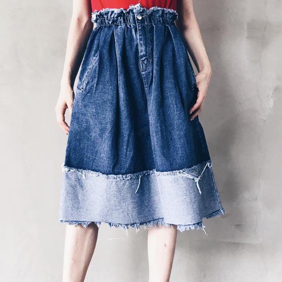 【即納】ひざ丈バイカラーデニムスカート