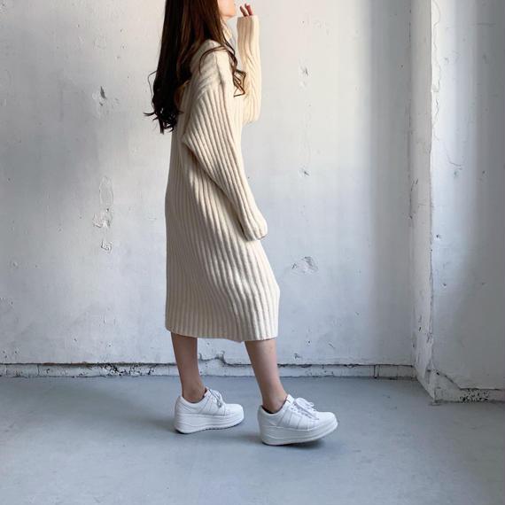 Long rib knit Turtle dress (WHT)