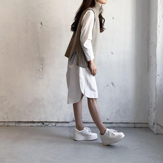 Shirt dress × High necked knit (set)