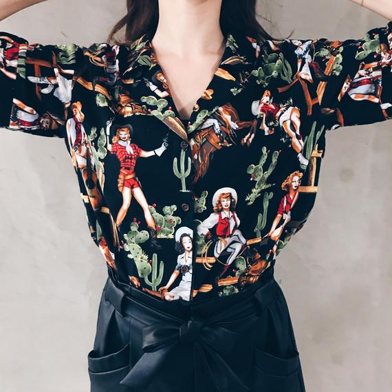 【即納】サンプルセール/Girlアロハシャツ(ブラック)