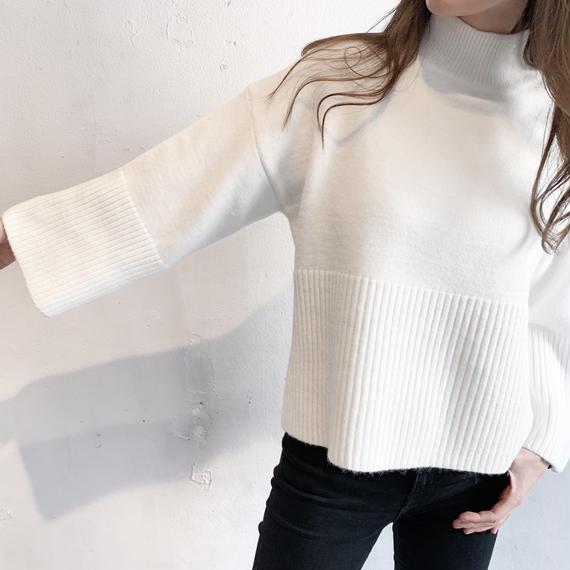High necked white knit