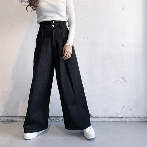 High waisted denim pants (BLK)