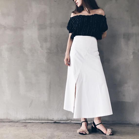 【即納】数量限定/ベーシックロングスカート(ホワイト)