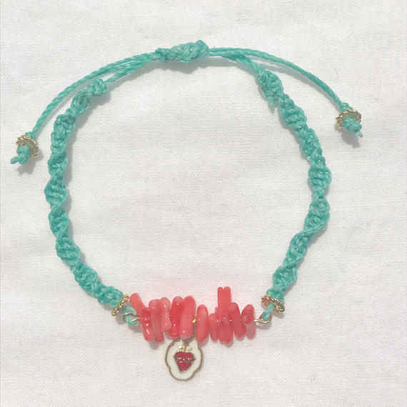 94 pink coral fresh green code bracelet