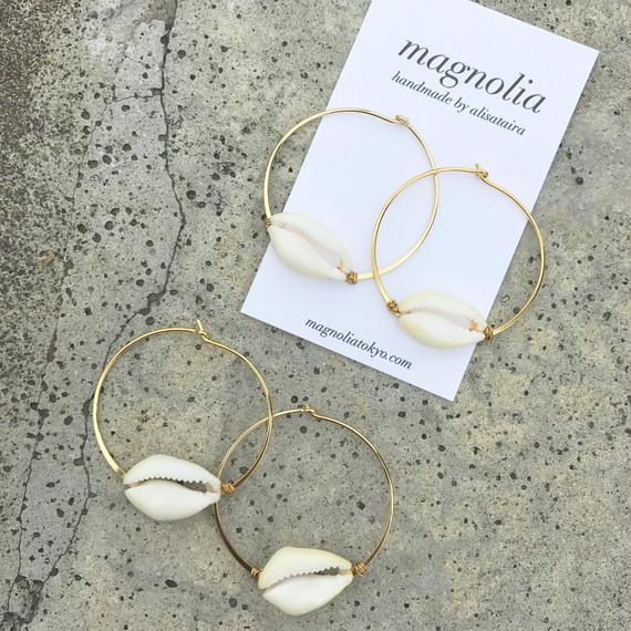 128 summer white shell hoops