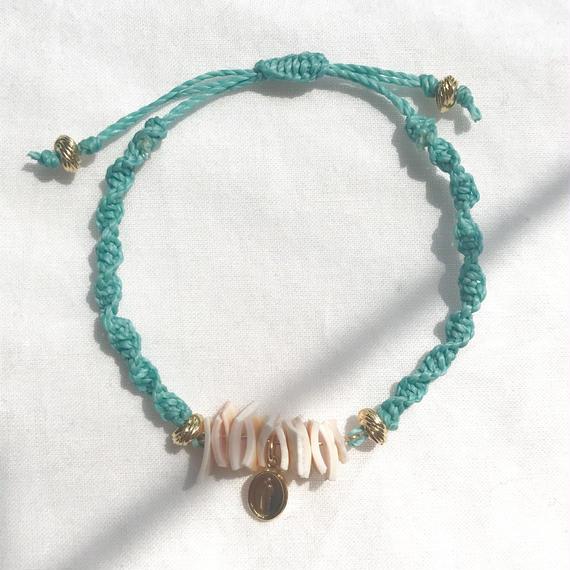 90 pinkshell turquoise blue code bracelet