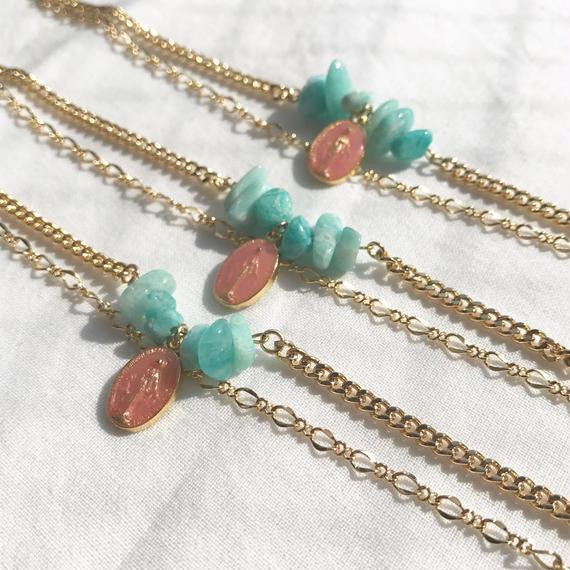 48 amazonite & rose pink w chain bracelet
