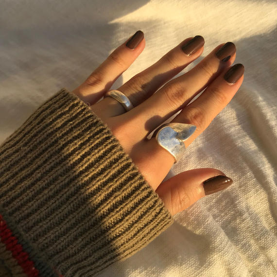 matte butterfly ring -silver-