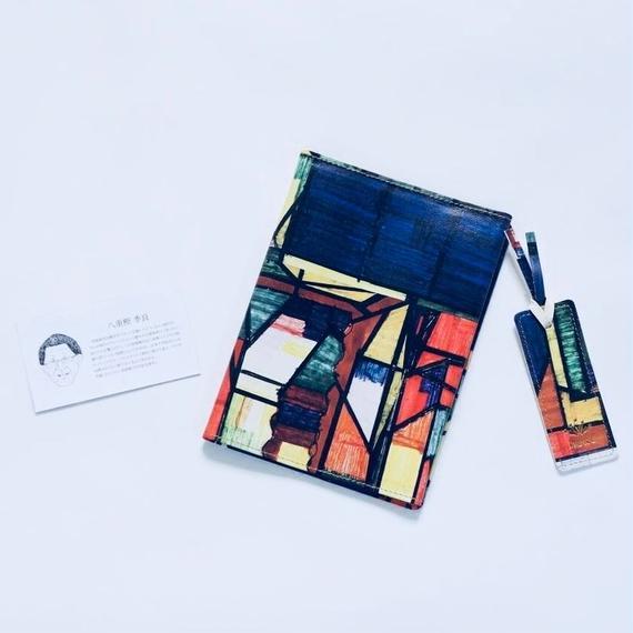Kiyoshi Yaegashi「無題」/ 本革製ブックカバー&しおりセット