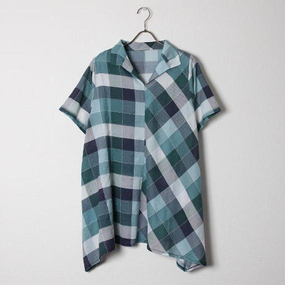 デザインチェックシャツワンピース