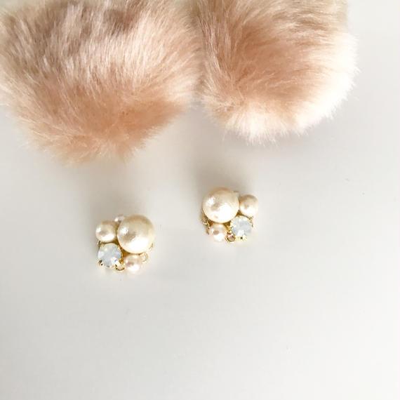 eco fur catch pierce*beige