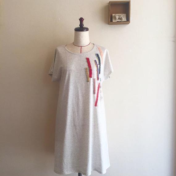 手織りのモザイクワンピース