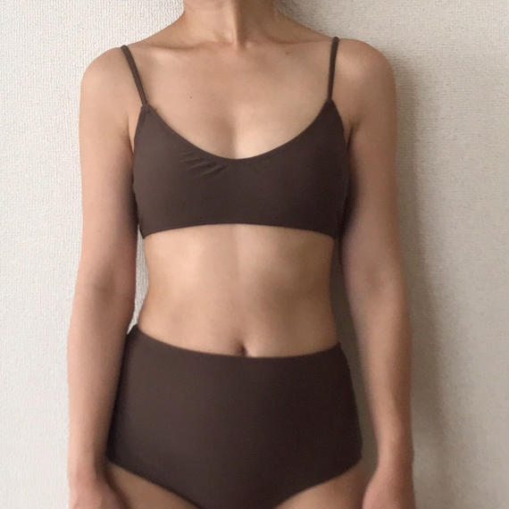 simple high-waist bikini[brown]