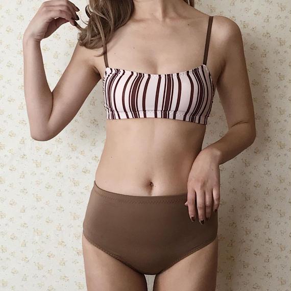stripe high-waist bikini[brown]