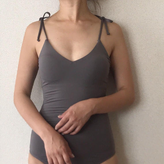 ribbon shoulder one-piece[gray]