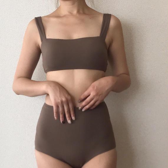 plain high-waist bikini[brown]