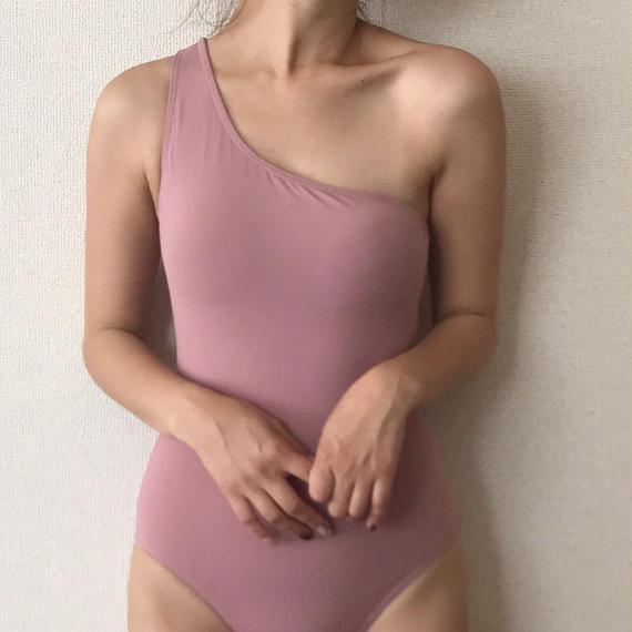 one-shoulder one-piece & swim cap[pink]