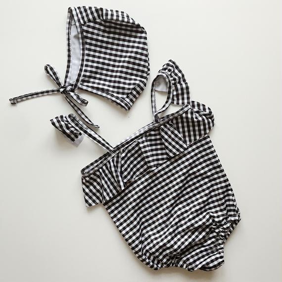 【Kids】frill gingham one-piece & swim cap