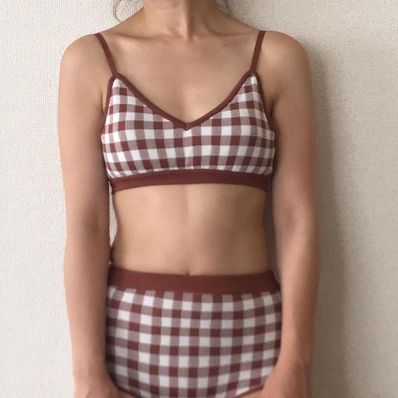 gingham knit bikini[brown]