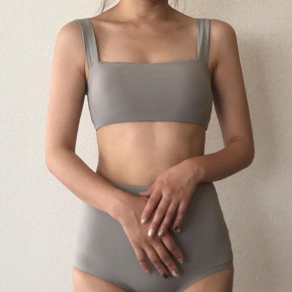 plain high-waist bikini[light gray]