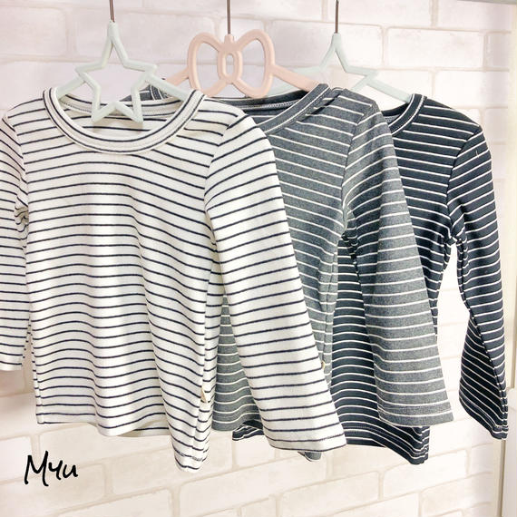 即納【 80〜120cm】Border long  T-shirt