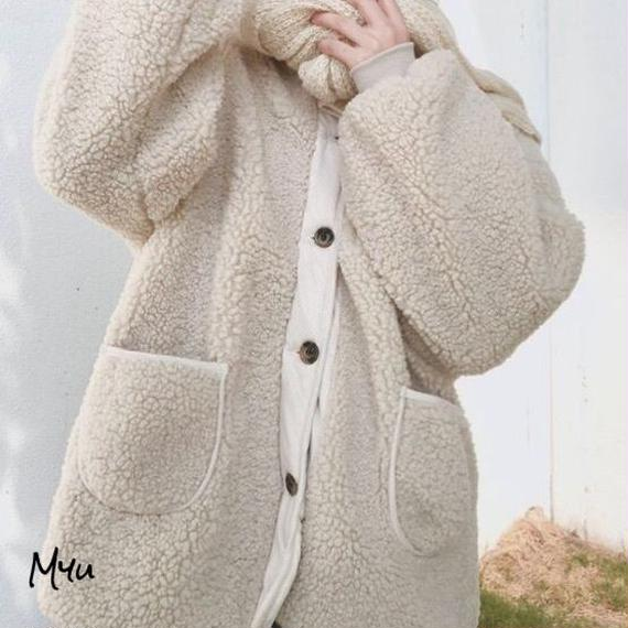 親子【Mom】Sheep's wool boa coat