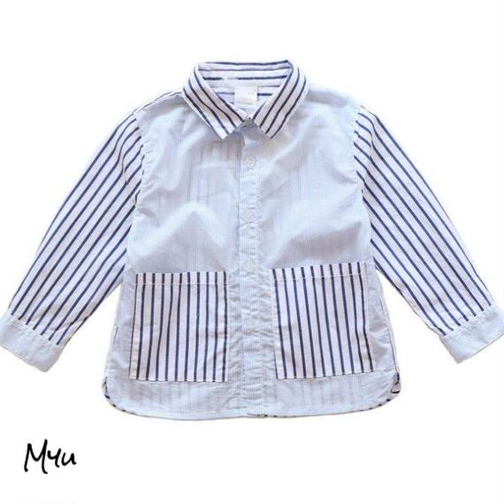 【80〜130cm】Design stripe shirt