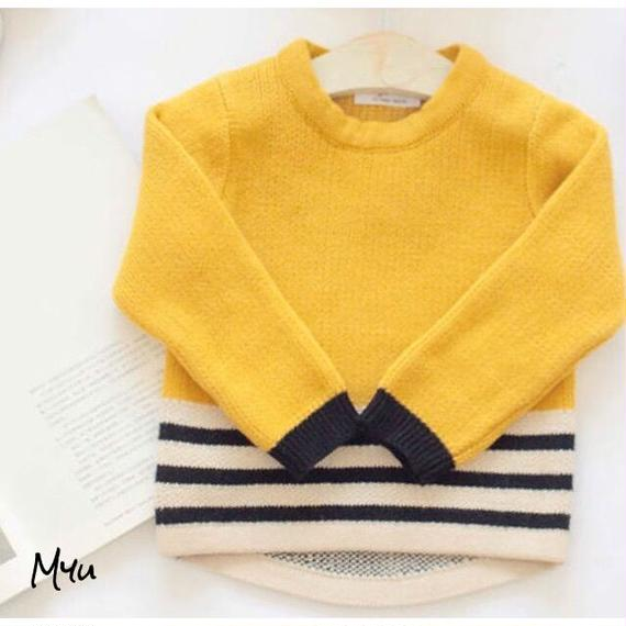 【80〜90cm】Yellow knit