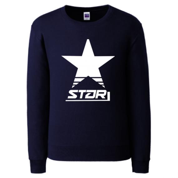 -STAR-クルーネックライトトレーナー