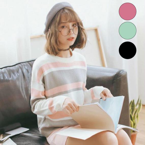 長袖カジュアルニットセーター