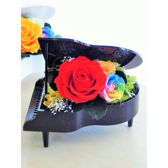 プリザーブドフラワー レインボーローズ ''Piano Rainbow''ピアノアレンジ ブラック