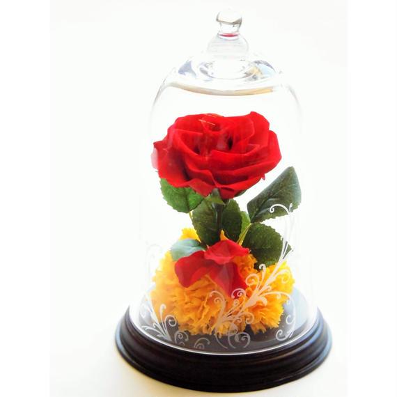 美女と野獣イメージアレンジ プリザーブドフラワー レッドローズの宝石