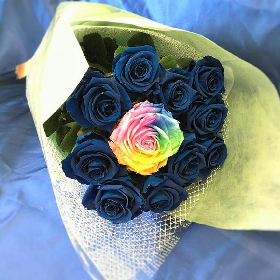 プリザーブドフラワー レインボーローズ・ブルーローズの花束~11本~最愛~