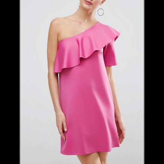 One Shoulder Mini Dress In Scuba With Asymmetric Frill (アシンメトリーフリル ワンショルダーワンピ)