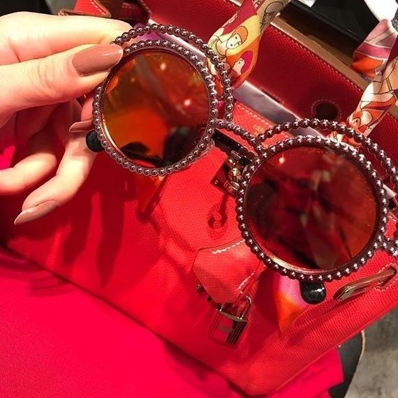 3色 Coco Pearl Studs Round Sunglasses (ココ パールスタッズ 丸サングラス)