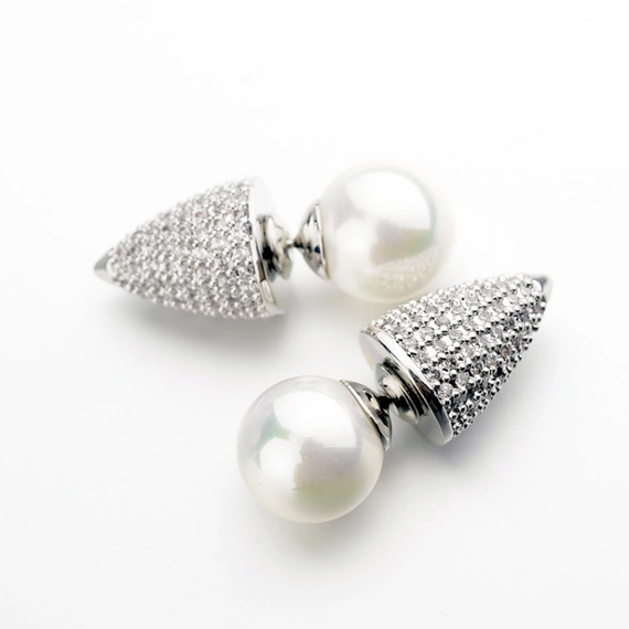 925 Starling Silver Petit Pearl&Studs Pave Earrings (925 タイニーパールスタッズピアス)