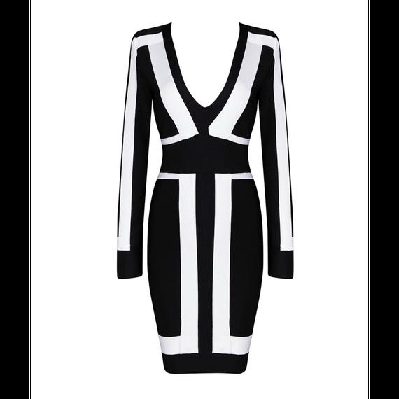 """Tow Tone Color V-Neck Bandage  Dress (Vネックモノトーンバンデージワンピース """"黒地白ストライプ"""")"""