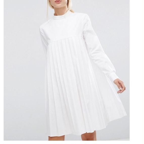 【Back In Stock!!再入荷】Pleated A-line Cotton Shirt Dress (プリーツコットンシャツワンピ)