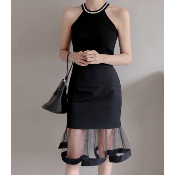 Tight Skirt With See-though Flare  Mini Skirt (シースルーフレアミニスカート)