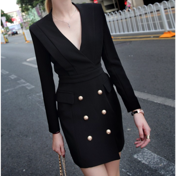 Power Shoulder Bodycon Dress With Gold Buttons (パワーショルダーミリタリーワンピ)