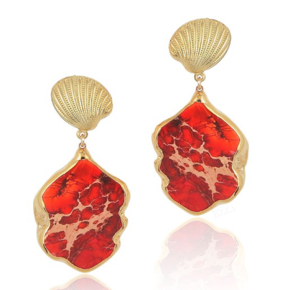 18K Orange Red Jasper Stone Drop Earring With Shell Motief   (18金加工 シェルモチーフ付きジャスパーストーンピアス)