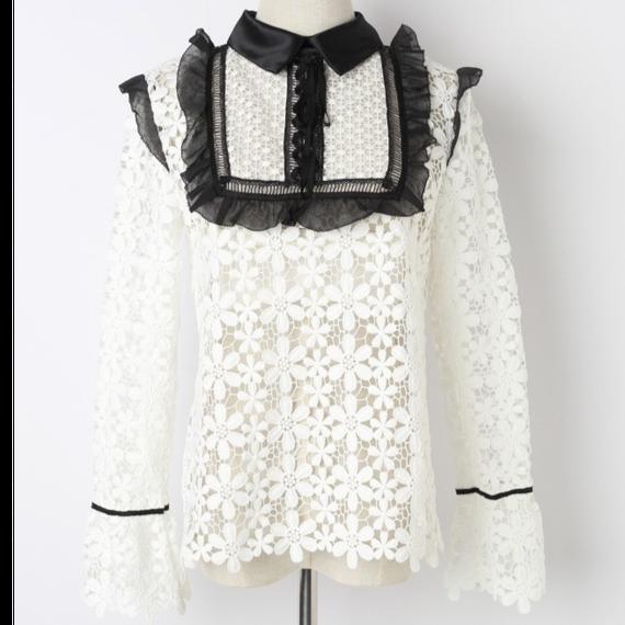 【3色】Flower Lace Blouse With Bou Tie  (リボン付き フラワーレースブラウス )